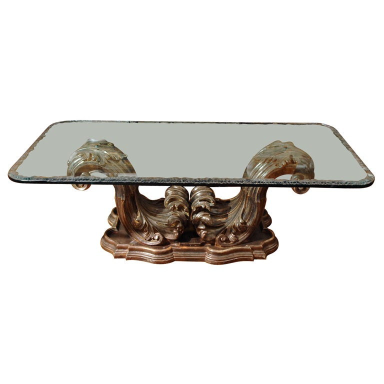 Italian Coffee Table With Carved Acanthus Leaf Base At 1stdibs