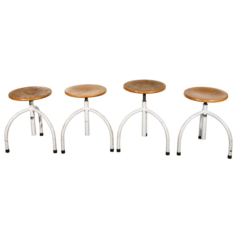 Dutch University Three Legged Stools Made By Oostwoud At