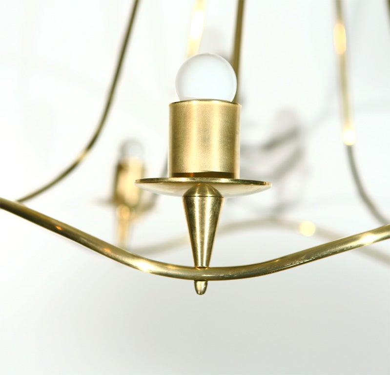 Lightolier Ring Chandelier At 1stdibs: Lightolier Five Bulb Brass Chandelier At 1stdibs
