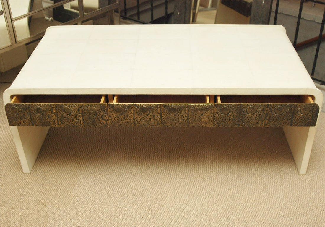 white coffee table with drawers white shagreen coffee table