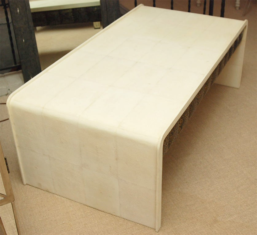 White Shagreen Coffee Table With Drawers At 1stdibs