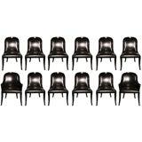 Set of 12 Karl Springer Regina Chairs