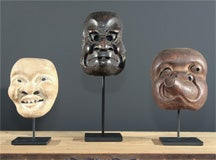 Three Japanese Carved Wood Theatrical Masks thumbnail 2