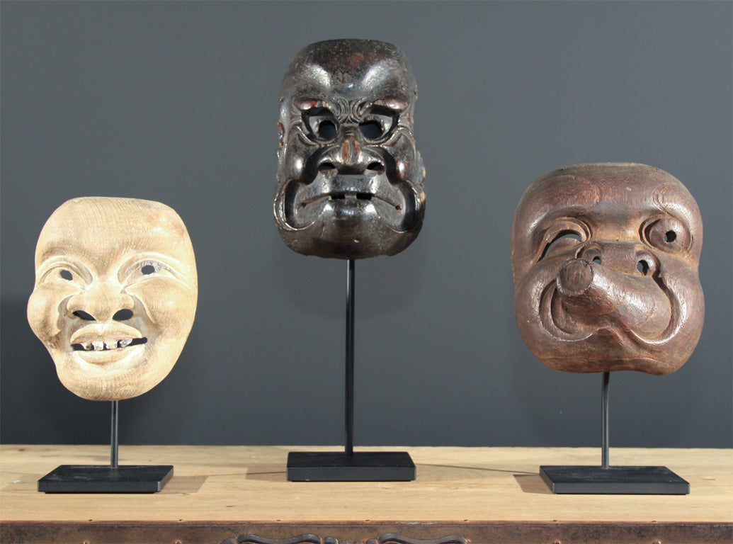 Three Japanese Carved Wood Theatrical Masks image 2