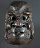 Three Japanese Carved Wood Theatrical Masks thumbnail 4