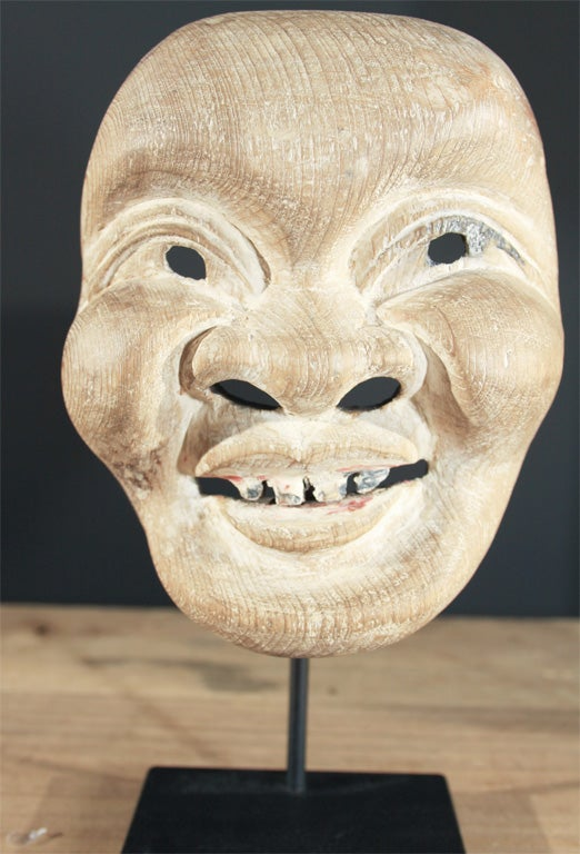 Three Japanese Carved Wood Theatrical Masks image 5