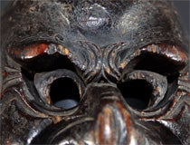 Three Japanese Carved Wood Theatrical Masks thumbnail 7