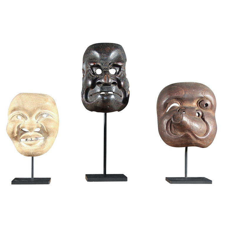 Three Japanese Carved Wood Theatrical Masks