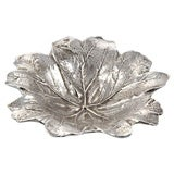 Antique Silver Plate Leaf Form Dish