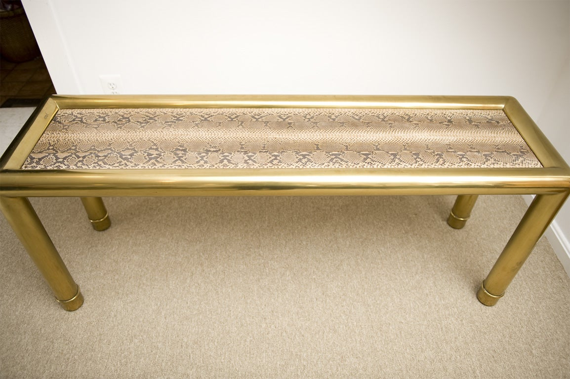 Python skin top brass mastercraft console table for sale for Table in python