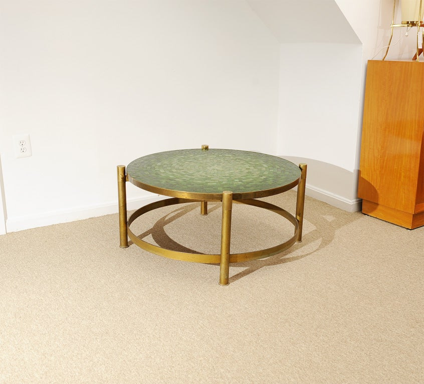 60 39 S Artisan Murano Glass Tile Top And Brass Coffee Table At 1stdibs