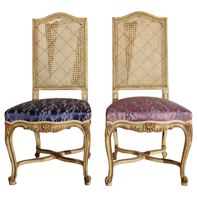 Painted Louis Xv Style Cane Back Side Chairs Jansen Style At 1stdibs