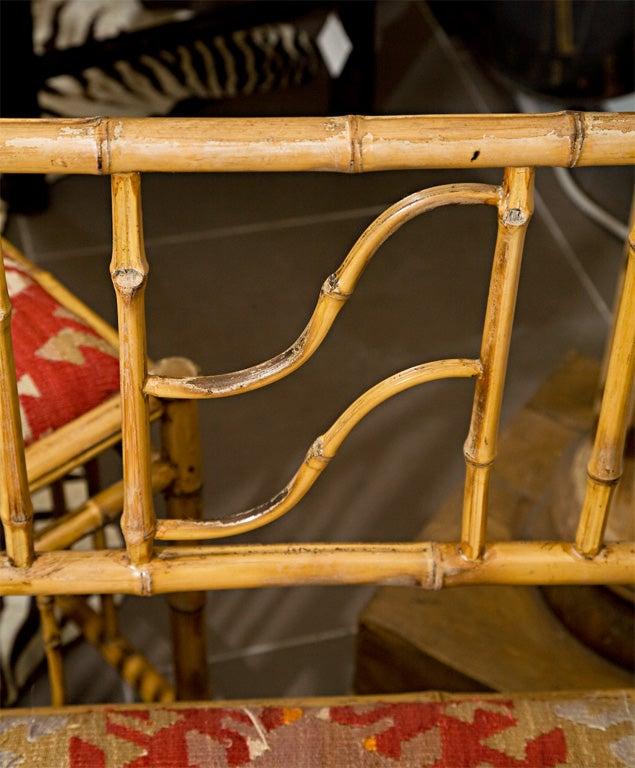 1940's BAMBOO CORNER CHAIRS W/ 100 YR. OLD KILIM RUG