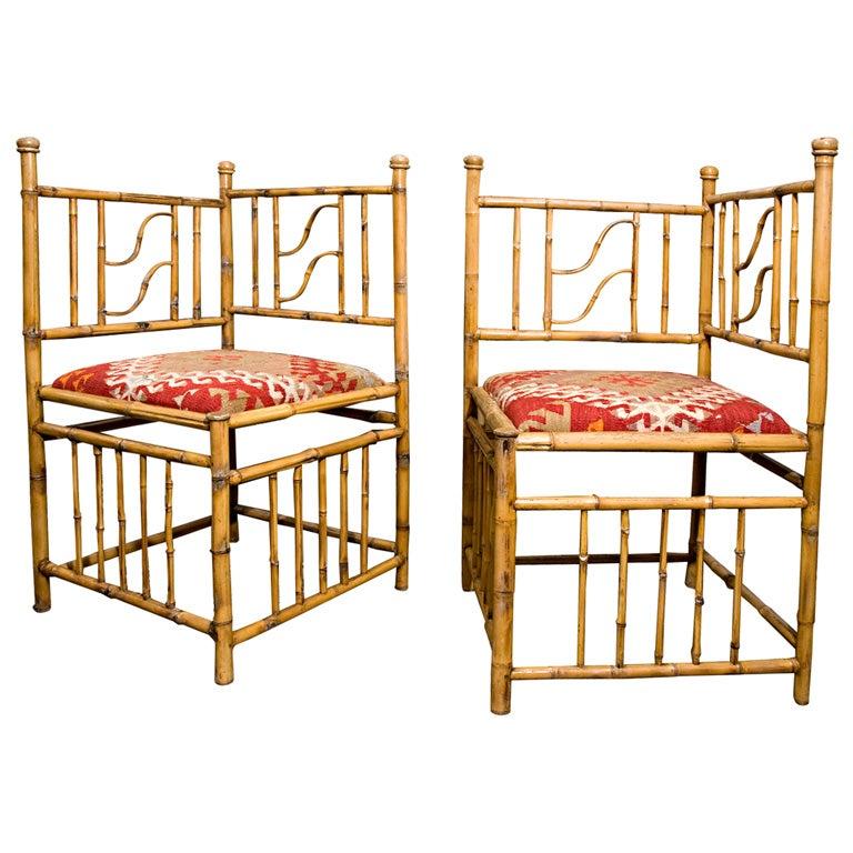 1940 S Bamboo Corner Chairs W 100 Yr Old Kilim Rug