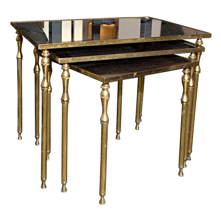 By bagues 3 brass nesting tables w black opaline glass for Glass top nesting tables