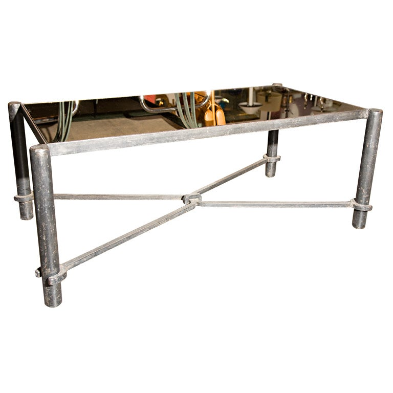 Large Wrought Iron Coffee Table W Smoked Glass Top By Adnet At 1stdibs