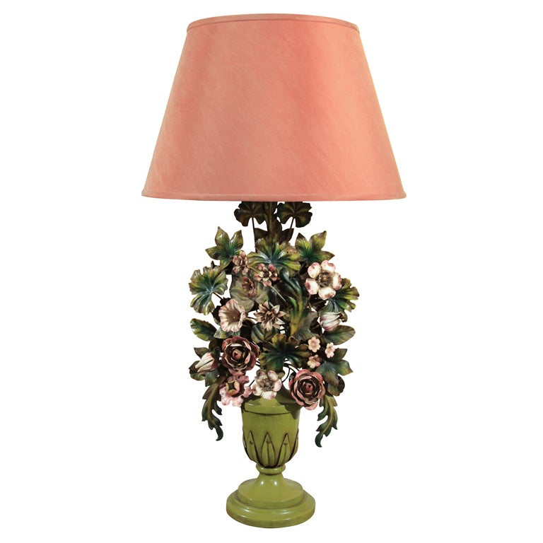 Italian Tole Floral Lamp At 1stdibs