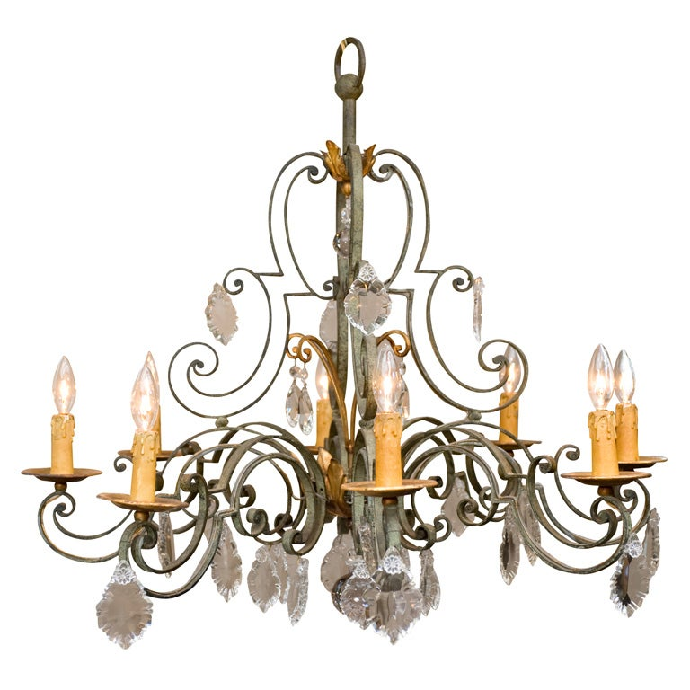 hand wrought and crystal chandelier at 1stdibs
