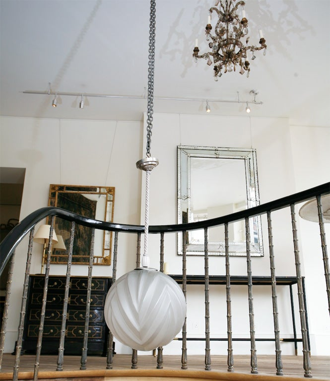 French Marius-Ernest Sabino – A Glass & Nickel Hanging Light For Sale