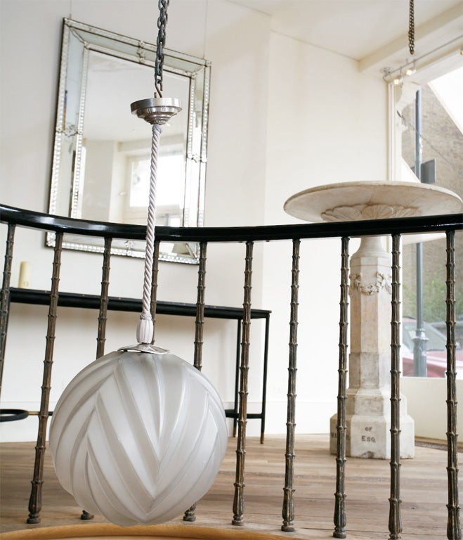 Marius-Ernest Sabino – A Glass & Nickel Hanging Light In Good Condition For Sale In London, GB