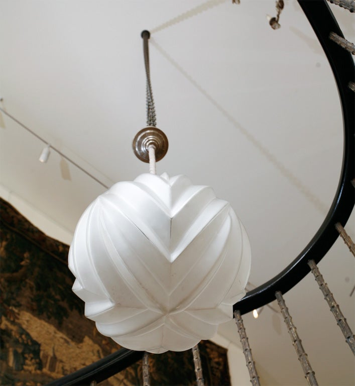 Marius-Ernest Sabino – A Glass & Nickel Hanging Light For Sale 4