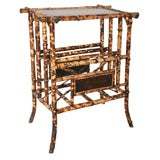 19th Century English Bamboo Canterbury with Table