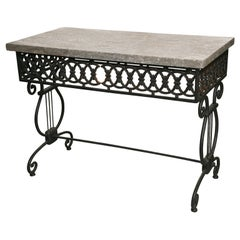 Directore Butcher Table with Grey Marble Top