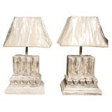 Two Pairs of Plaster Architectural Fragment Base Table Lamps