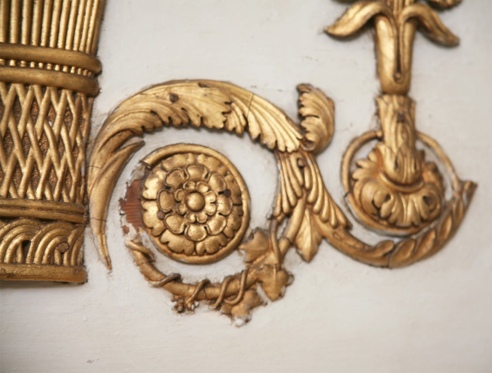 Empire Trumeau Gilded Gold Mirror With A Basket Wheat