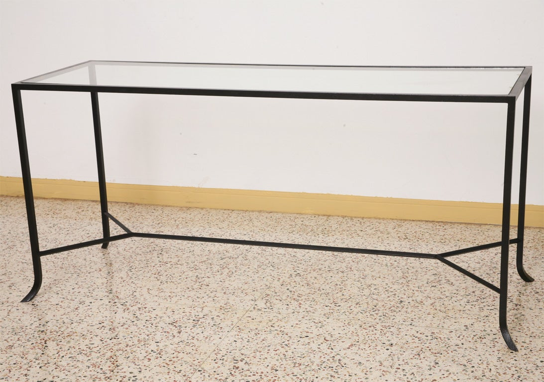 Sleek modern wrought iron console sofa table at 1stdibs for Wrought iron sofa table base