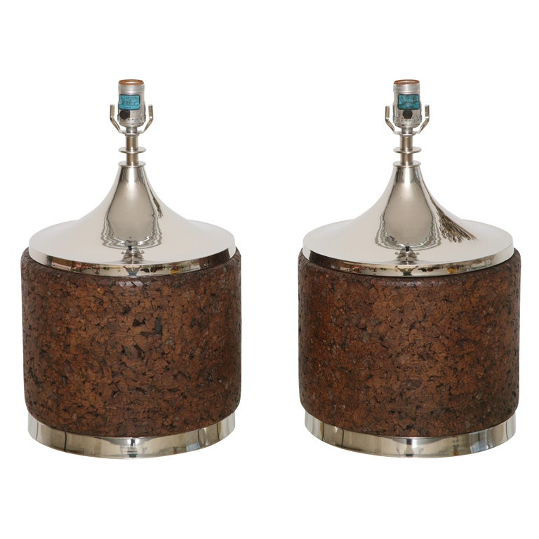 Great cork and nickel drum shape table lamps at 1stdibs for Drum shaped lamp shades