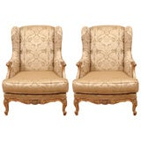 Pair Louis XV Gilt Wing Chairs