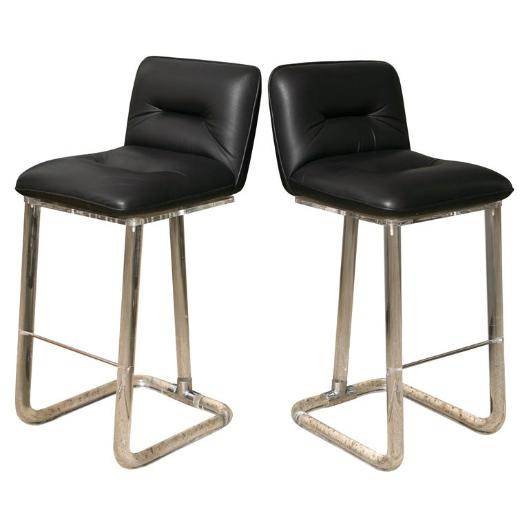 Pair Of Leon Frost Lucite Bar Stools At 1stdibs