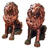 Extraordinary Pair of Lustreware Seated Lions
