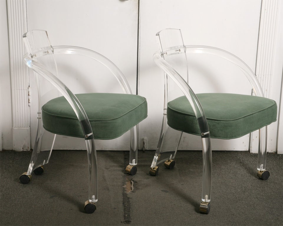 pair of lucite chairs at 1stdibs
