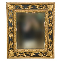 Italian Painted and Parcel Gilt Carved Mirror