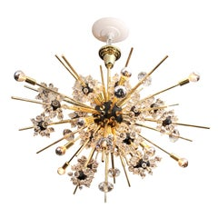 Crystal and Brass Rod Sputnik Chandelier with Black Spheres