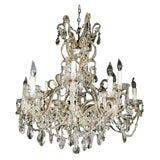 "Vintage French 12 Light Crystal Chandelier 36"" high 30"" wide"