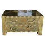 Brass covered Coffee Table/Chest with 2 drawers.