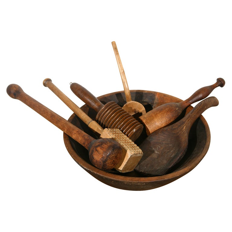 19thc Kitchen Wooden Utencils And Spoons At 1stdibs