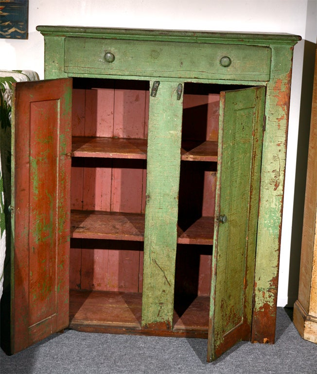 19thc original green painted jelly cupboard at 1stdibs for Jelly cabinet plans