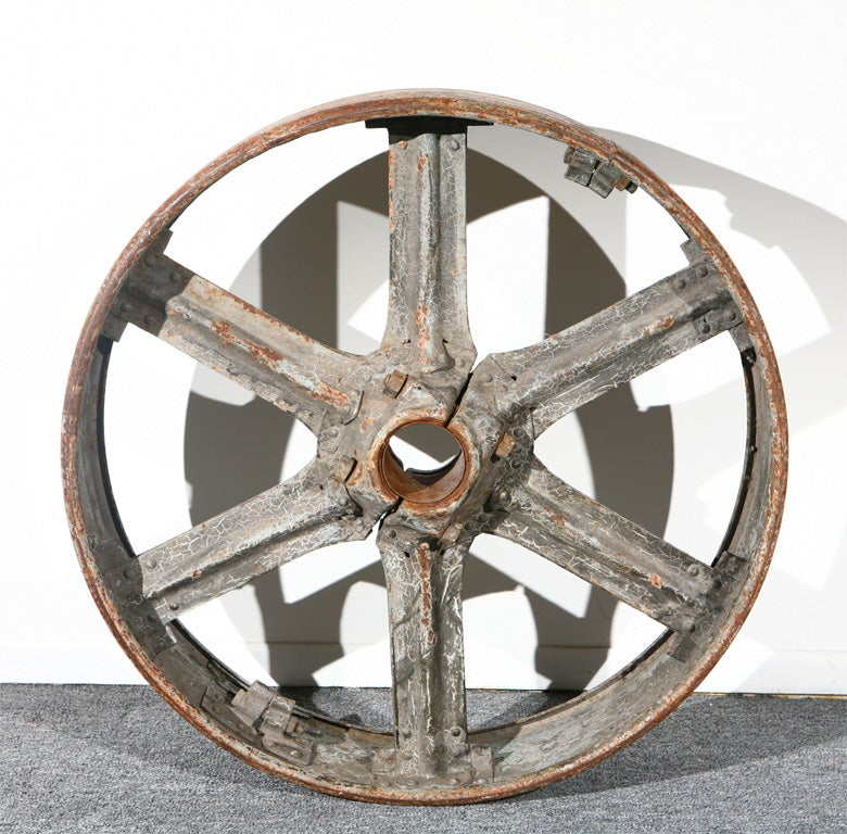 Cast Iron Wheels And Gears : Thc original painted cast iron industrial wheel gear at
