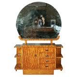 Art Deco Vanity Large Circular Mirror Multiple Shelves Fine Burl Wood Finish