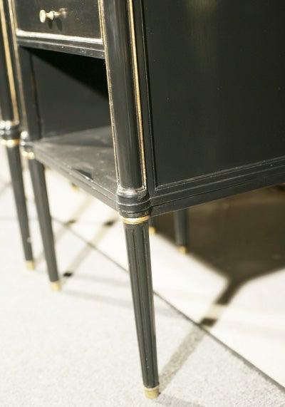 Mid-20th Century Pair Jansen Ebonized Marble Top Nightstands