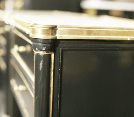 Wood Pair Jansen Ebonized Marble Top Nightstands
