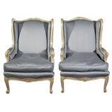 Pair Maison Jansen Wing Back Chairs