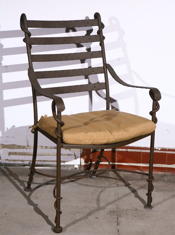 Set of twisted wrought iron arm chairs at stdibs