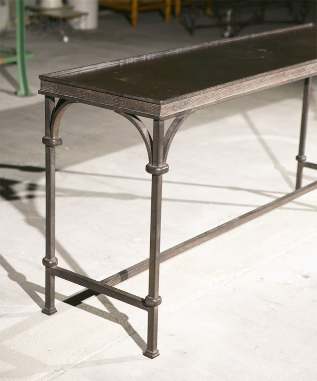 Wrought iron console table at 1stdibs for Wrought iron sofa table base