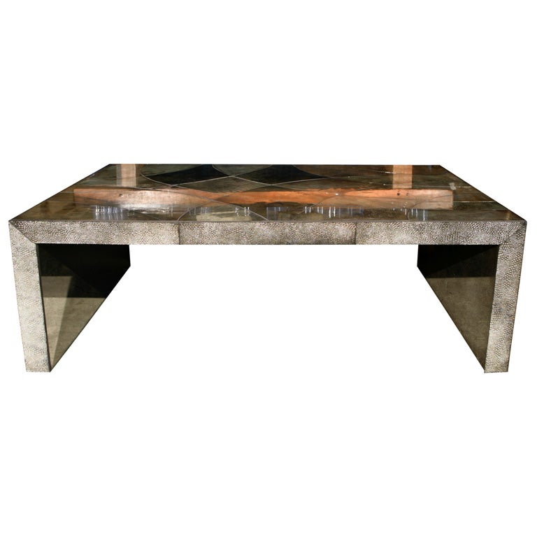 mirrored faux shagreen rectangular coffee table at 1stdibs