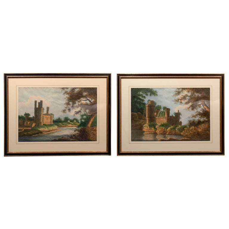 Pair of English Watercolor Landscapes with Gothic Castles on a River Bank